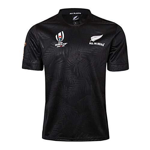 Rugby-Trikot, Rugby-Weltmeisterschaft 2019 Trikot, Neuseeland All Blacks Jersey Baumwolljersey-T-Shirt (S-5XL) Black-XXXXL