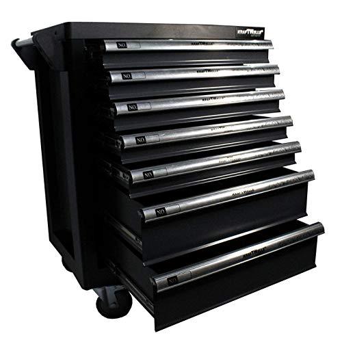 Werkzeugwagen Werkstattwagen KRAFTWELLE 7 Schubladen 6 komplett gefüllt mit Werkzeuge – Werkzeugkasten fahrbar mit Seitenfach