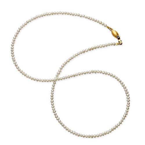 Drachenfels Mini Perlenkette in Echtsilber mit Tonnenschloss goldplattiert | Süßwasserperlenkette für Anhänger | Halskette für Damen | Länge 42 cm | D KSW 52/AGG