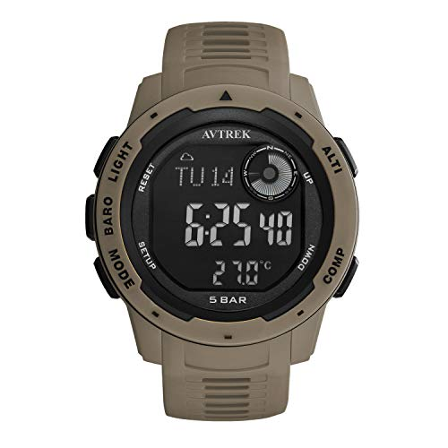 AVTREK Compass Watch, Pedometer Calorie Watch, Altimeter Barometer Thermometer Temperature, Fashion Cool Military Waterproof Outdoors Sport Digital Mountaineering Watch for Men and Women (Brown)