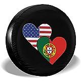 Not applicable Portugal American Heart Flags Tipo de neumático de Repuesto Cubierta Rueda Ajuste Coche Remolque SUV ect,16 Pulgadas