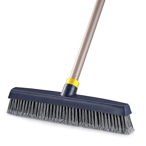 Yocada Push Broom Brush Stiff Bristles Broom Head Telescopic Heavy-Duty Outdoor Commercial for Cleaning Bathroom Kitchen Patio Garage Deck Concrete Wood Stone Tile Floor