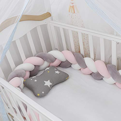 Soft Crib Bumper Pillow Cushion Crib Sides Protector Infant Cot Rails Newborn Gift Knotted Braided Plush Nursery Cradle Decor (White Gray Pink, 78.7in)