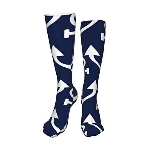 Decams Calcetines unisex de muslo alto, anclajes náuticos azules y blancos, calcetines largos para botas altas, calentadores de pierna alta, calcetines deportivos