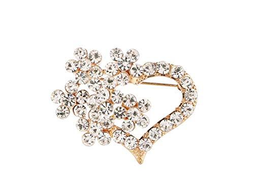 Ogquaton Herzförmige Brosche Brautkleid Corsage Schals Schal Clip Gold Geburtstagsgeschenke Farbe: Golden, Größe: 3.3x4.3cm Premium Qualität