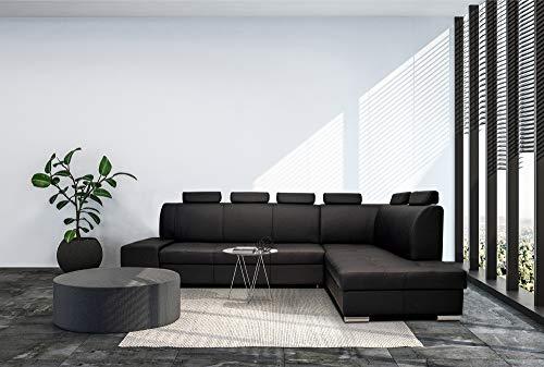 Quattro Meble Echtleder Ecksofa London PIK EXTRA 6z 300 x 200 (Ecke Rechts) Sofa Couch mit Schlaffunktion, Bettkasten und Kopfstützen Echt Leder Eck Couch Leder Toledo große Farbauswahl
