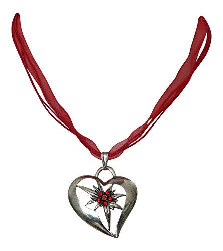 Trachtenschmuck Dirndl Kette Herz mit Edelweiss mit Swarovski ELEMENTS Kristallen in Siam rot