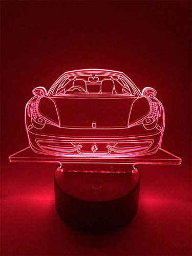 3D LED noche luz ilusión lámpara 7 cambio de color decoración lámpara regalos perfectos para niños (Ferrari 458)