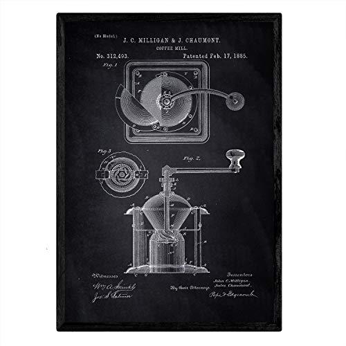 Poster Nacnic patent koffiemolen. Blad met oud ontwerp patent A3-formaat met zwarte achtergrond
