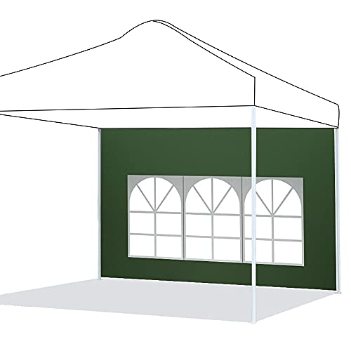 Pannelli laterali per gazebo impermeabile, 3 m x 2 m, in tessuto Oxford 210D, pannello laterale di ricambio per gazebo da giardino, esterno o festa, colore: verde, finestra romana