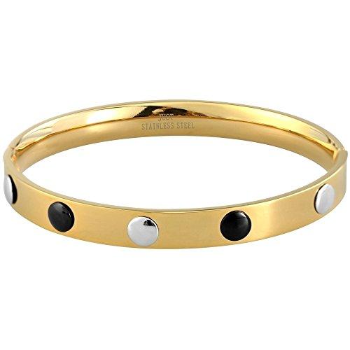 Just Edelstahl Armreif Reif Armband Goldfarbig Glänzend mit Schwarz Silberfarbigen Edelstahl Verzierungen 48-S0333GD-SL-BK und Steckverschluß, Durchmesser 67mm, Breite 8mm