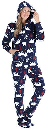 SleepytimePJs Women's Fleece Hooded Footed Onesie Pajama, Navy Bear, MED