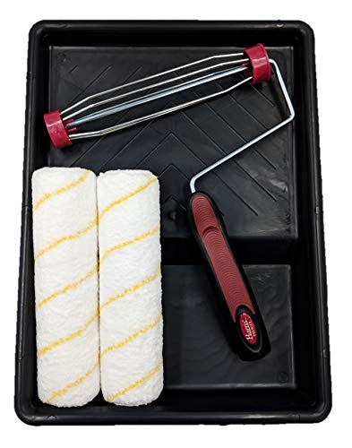 """9"""" Paint Roller Set - Harris Premier 1.5"""" Pro Roller Frame with 2 Sleeves and Tray"""