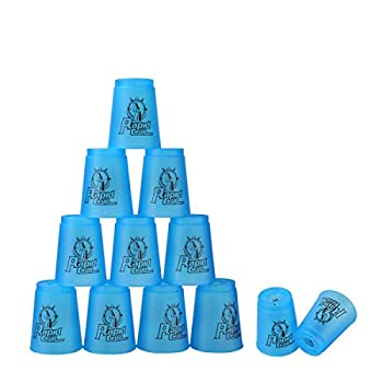 DEWEL Stacking Cup Game with 15 Stack Ways  12pcs Cup Stacking Set Sport Stacking Cups with BPA-Free Materail Classic Family Game Great Gift Idea for Stack Games Lover  Blue