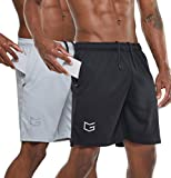 G Gradual Men's 7' Workout Running Shorts Quick Dry Lightweight Gym Shorts with Zip Pockets (Black/Gray, Large)