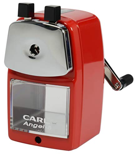 CARL Angel-5 Manual Pencil Sharpener with Metal Table Mount. Quiet for The Classroom, Home & Office, Red