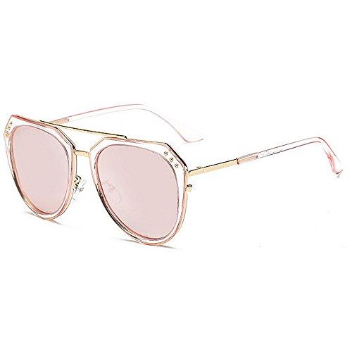 Belleashy Gafas de sol para mujer, diseño de remache de personalidad, para mujer, polarizadas, marco de metal, protección UV, para conducción, viajes, para uso diario en todas las caras (color: rosa)