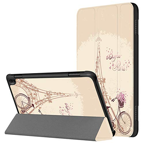 HUASIRU Pintura Caso Funda para Fire HD 8 Tableta (10ª generación, lanzada en 2020) - La Cubierta Frontal Triple con Auto-Reposo/Activación, París