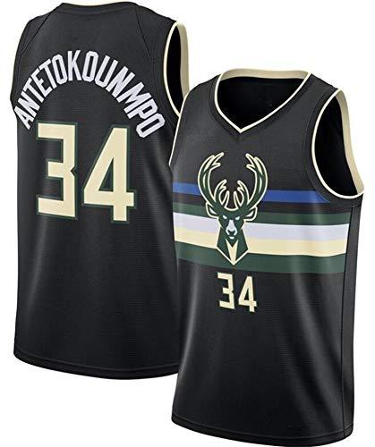 WSUN Camiseta De La NBA para Hombre, Milwaukee Bucks 34# Giannis Antetokounmpo Camiseta NBA Basketball Fan Jersey NBA Cool and Light Camiseta Deportiva Sin Mangas,A,L(175~180CM/75~85KG)