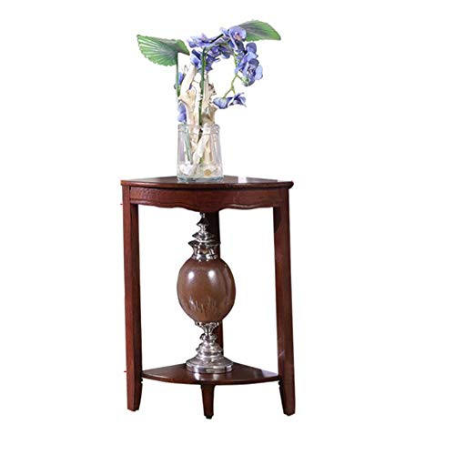 YUMEIGE-SIDE TABLE Living Room End-Table 2 Tiers Vintage Wooden Side-Table Nightstands , Plant Stand, Fan-shaped Baffle, Corner Cabinet,3colors,2 Sizes end table