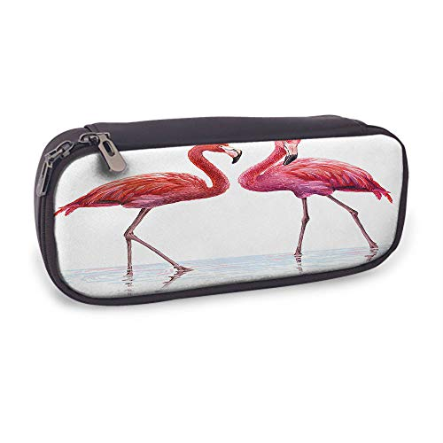 Moslion Flamingo Pencil Case Tropical Bird Flamingos Stand in River Lake Water with Pink Feather Long Legs Pen Pouch Bag School Stationery Leather Cosmetic Makeup Bag for Boys Girls Women