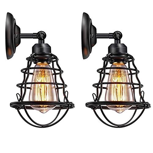 Asvert Aplique de Pared Industrial Adjustable Metal Ángulo Ajustable E27 Apliques de Pared Vintage Retro Lámpara Industrial de Pared 2 luces (Negro 2, 2 pcs)