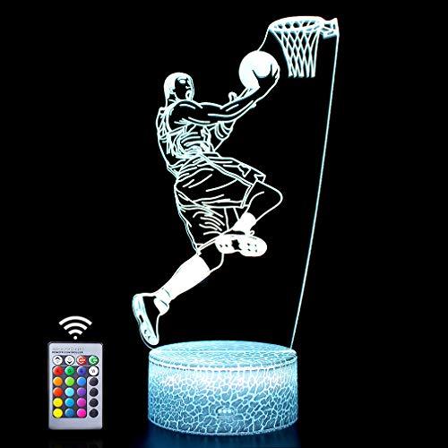 Lámpara de baloncesto 3D regalo de cumpleaños luz nocturna, 16 colores cambiantes y control remoto luces ilisión regalos ideales (hombre de baloncesto)