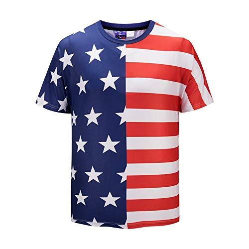 FGVBWE4R Nouveau T-Shirt pour Les Hommes d'été T-Shirt 3D Casual Respirant Saison T-Shirt Hip-Hop Creative Star Stripe Print Grande Taille Hommes Wear-DX811001#, M