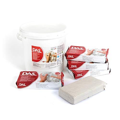 DAS Modelliermasse Air Dry Clay White - Schulpaket 5 x 1 kg Eimer 386000