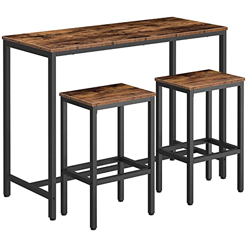 HOOBRO Bar Table and Stools Set, 120 cm Breakfast Bar Table High and Chairs Set, Kitchen Pub Table and 2 Bar Stools, for Small Space, Living Room, Dining Room, Industrial, Rustic Brown EBF52BT01