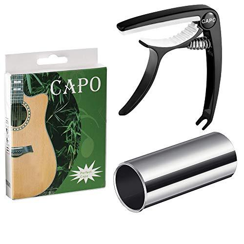 Fansjoy Cejilla Guitarra + Guitarra Slide, Negro Capo Guitarra, Mediano Slide Guitarra de Acero Inoxidable 60mm, para Guitarra Acústica Eléctrica Clásica, Bajo, Ukulele
