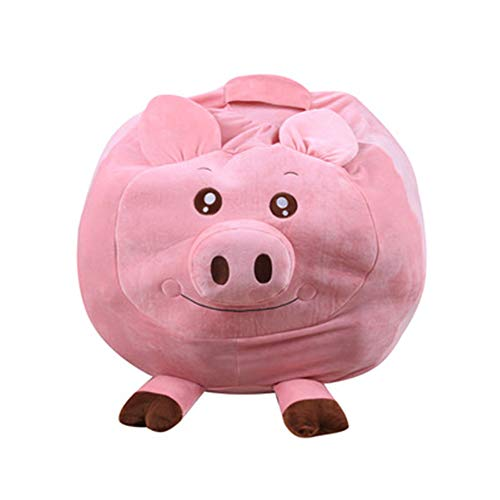 NBLYW Stofftier-Aufbewahrung, Sitzsack-Organizer für Kinder, Spielzeug, Reißverschluss-Taschen für Unisex, Jungen, Mädchen, weicher bequemer Stoff, Kinder lieben – Affe, Schwein oder Elefant, Schwein