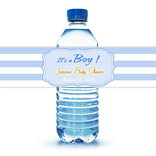 """It's a Boy Baby Shower Water Bottle Labels, 100 Personalized 8""""X2"""" Easy to Peal & Stick Labels"""