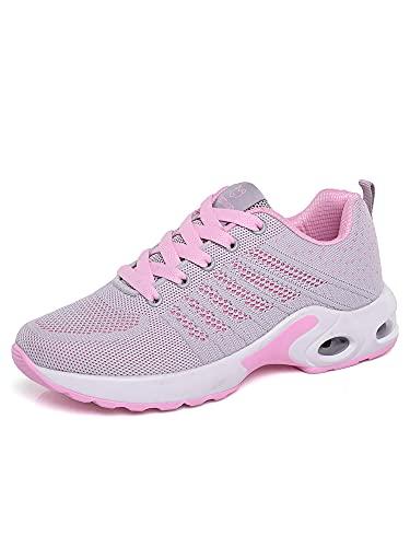 Zapatillas deportivas para mujer, con cojín de aire, transpirables, para correr, tenis, deporte, para el tiempo libre., color Rosa, talla 38 EU