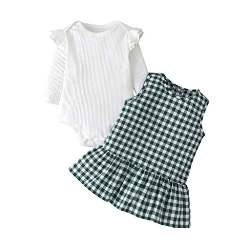 Moneycom❤Nouveau-né Infantile bébé Filles Mode Barboteuse à Volants + Robe à Carreaux Robe d'été Ensemble Vert(18-24 Mois)