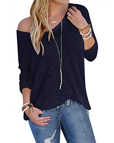 YOINS Bluse Damen Pullover Damen Langarmshirts Schulterfrei Oversize Tshirts Damen Herbst V-Ausschnitt Blusen Oberteile Casual A-blau-neu XL