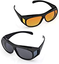 Kriva HD Vision Unisex Set of 2 Day and Night Riding Sunglasses Goggles