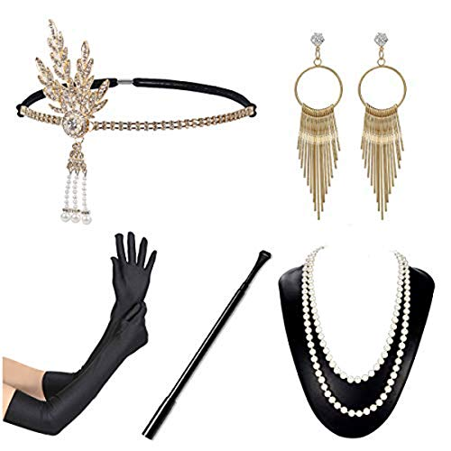 1920s Flapper Accessories Set Women Vintage Headband Necklace Gloves Cigar Holder Earrings Gatsby Costume for Roaring 20s Party Prom, Gold, One Size