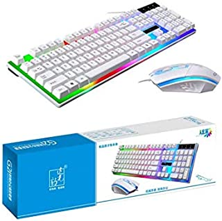G21 Keyboard Wired USB Gaming Mouse Flexible Polychromatic LED Lights Computer Mechanical Feel Backlit Keyboard Mouse Set,...