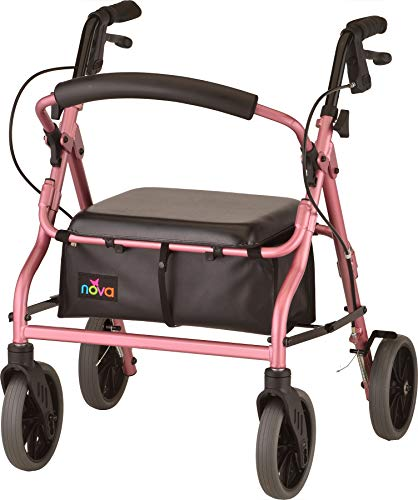 "NOVA Medical Products Zoom Rollator Walker with 8"" Seat Height, Pink, 18 Inch"