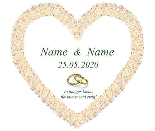 Personalisiertes Hochzeitsherz zum Ausschneiden für das Hochzeitsspiel oder zur Hochzeitsdekoration – mit Namen, Datum und Glückwunschtext personalisiert
