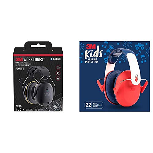 3M WorkTunes Connect Hearing Protection & 3M Kids Hearing Protection, Red
