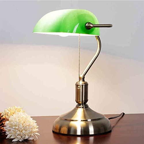 YAOBAO Alte Shanghai Schreibtischlampe, Klassische Banklampe/Bankers Lampe/Bürolampe Glasschirm, Retro Tischlampe Grüne Schreibtischlampe Bibliotheksleuchte Im 20Er Jahre Dekor, Zugschalter