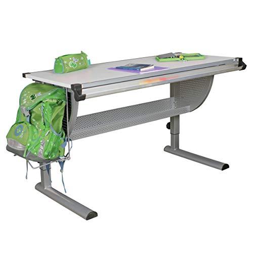 FineBuy Design Kinderschreibtisch Michi Holz 120 x 60 cm grau/weiß | Schülerschreibtisch neigungs-verstellbar | Schreibtisch Kinder höhenverstellbar