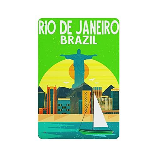 Río de Janero Brasil Cartel de lata retro decoración de pared tienda garaje familiar jardín bar restaurante hotel