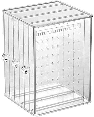 Sooyee Clear Acrylic Jewelry Storage Box,3 Vertical Drawer Earrings Display Stand Holder, Transparent 216 Holes 33 Grooves Screen Hanger Organizer for Stud Earring and Necklace,Dustproof