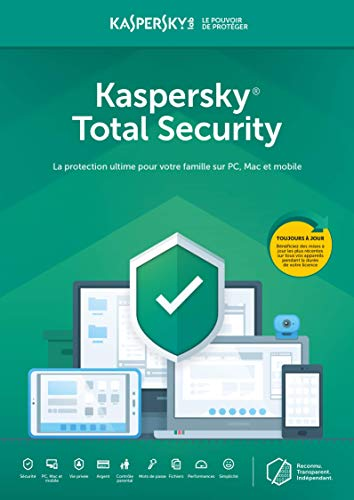 Kaspersky Total Security 2020 | 5 Appareils - 2 Comptes utilisateurs | 1 An | PC/Mac | Online Code