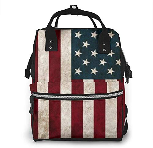 Diaper Bag Backpack Travel Bag Large Multifunction Waterproof American USA Flag 14 Stylish and Durable Nappy Bag for Baby Care School Backpack