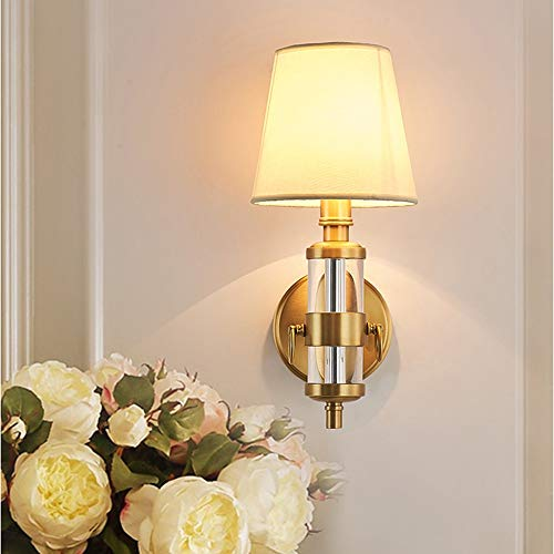 SWNN Luces de pared europeas retro simple tela cristal cobre lámpara de pared 15 * 36 cm oro luz cálida hotel sala dormitorio noche