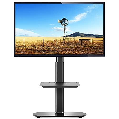 5Rcom Universal TV Floor Stand with 2 Shelves for 27 32 37 42 47 50 55 inch Plasma LCD LED Flat or Curved Screens TVs Skinny TV Stand with Swivel Mount and Height Adjustable,Black
